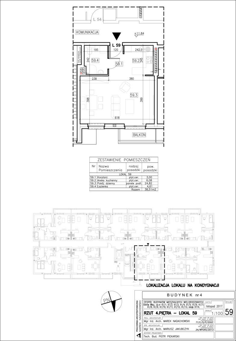Lokal nr 59 Powierzchnia: 38,51 m2