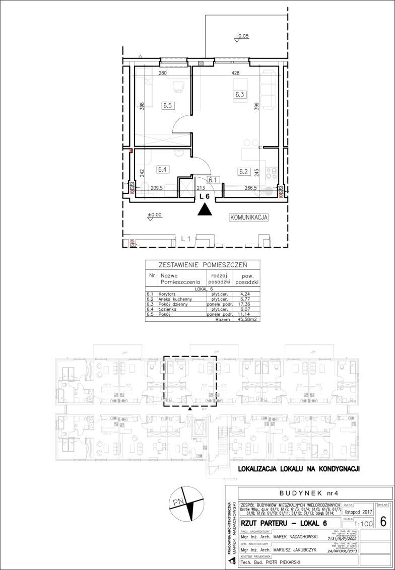 Lokal nr 6 Powierzchia: 45,58 m2