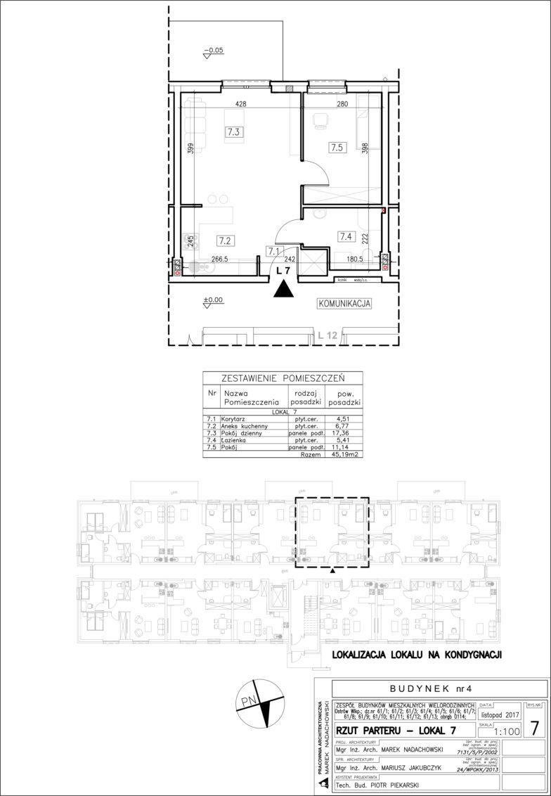 Lokal nr 7 Powierzchia: 45,19 m2