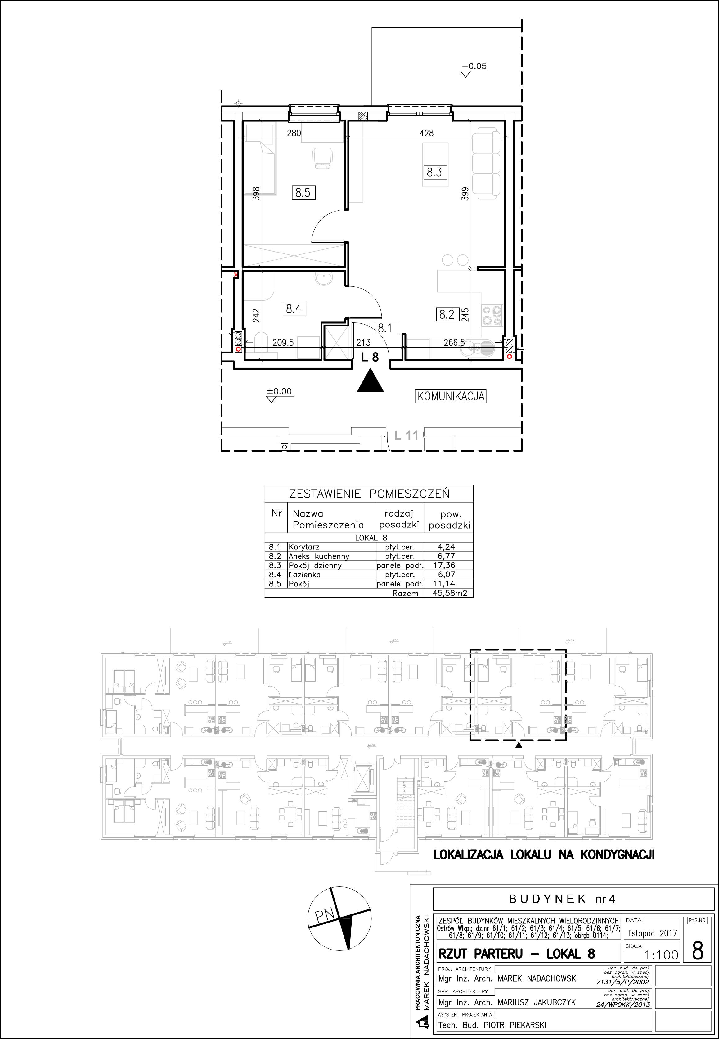 Lokal nr 8 Powierzchia: 45,58 m2