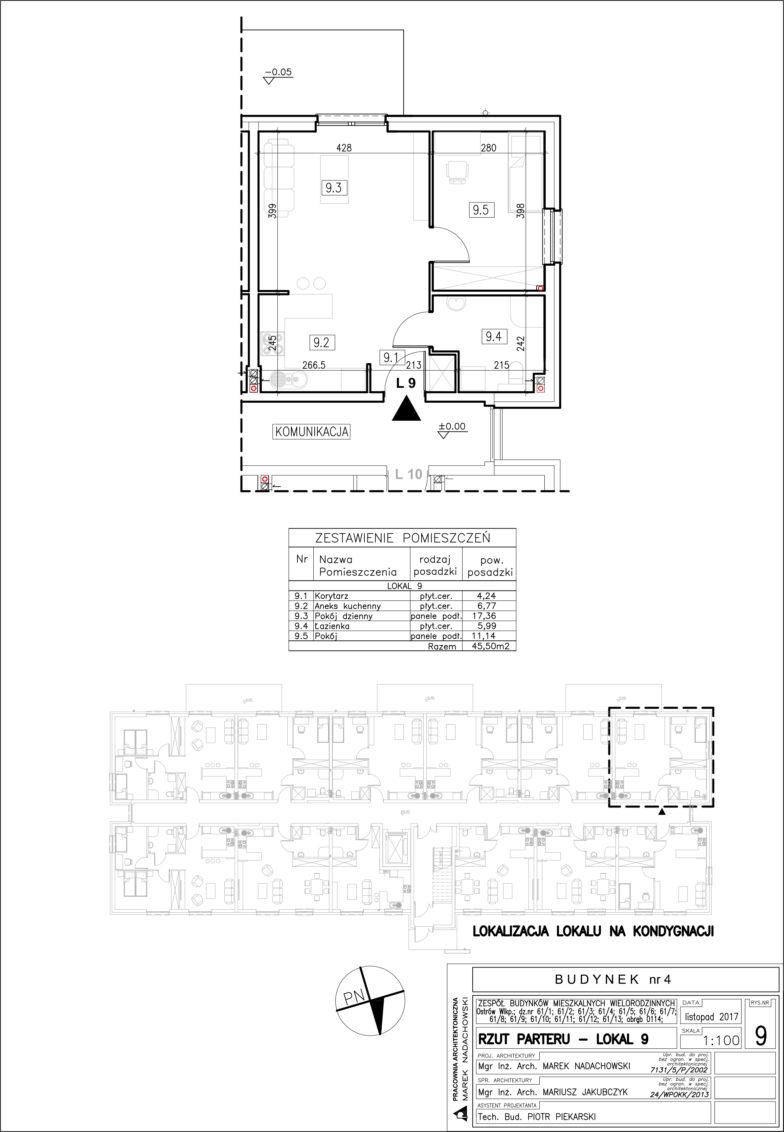 Lokal nr 9 Powierzchia: 45,50 m2