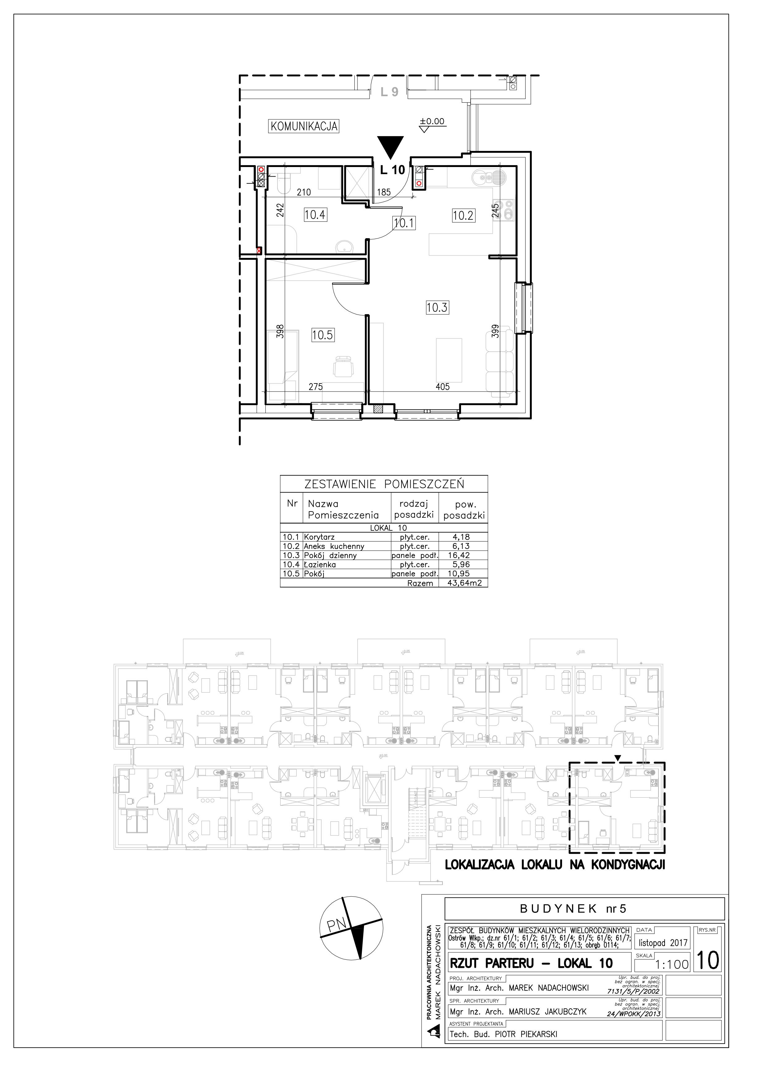 Lokal nr 10 Powierzchnia: 43,64 m2