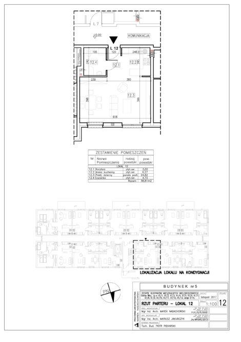 Lokal nr 12 Powierzchnia: 38,81 m2