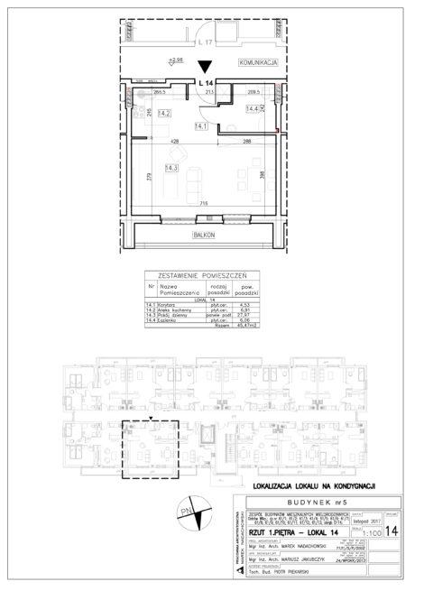Lokal nr 14 Powierzchnia: 45,47 m2
