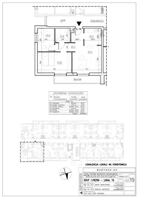 Lokal nr 15 Powierzchnia: 58,98 m2