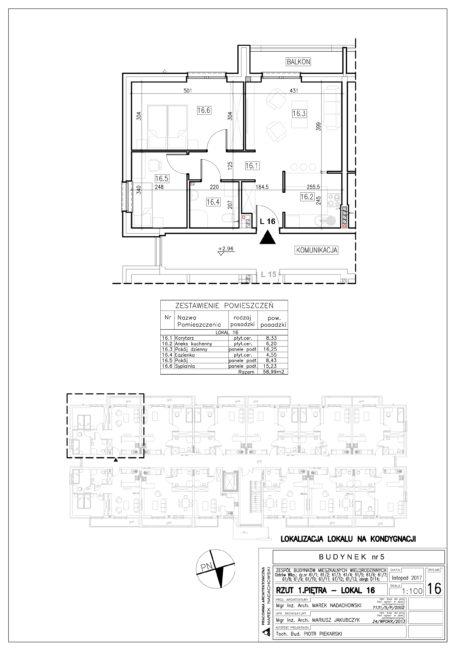 Lokal nr 16 Powierzchnia: 58,99 m2