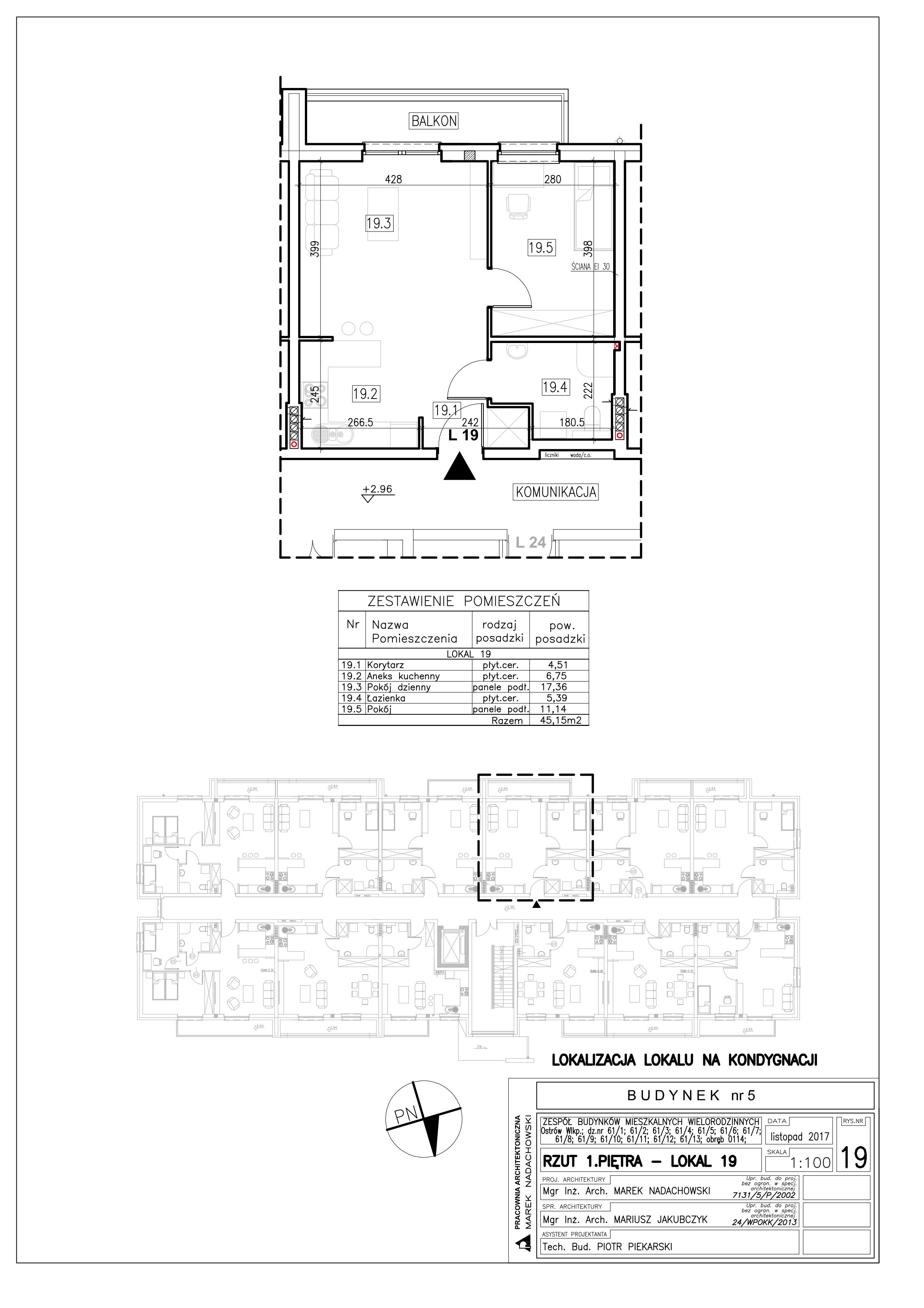Lokal nr 19 Powierzchnia: 45,15 m2