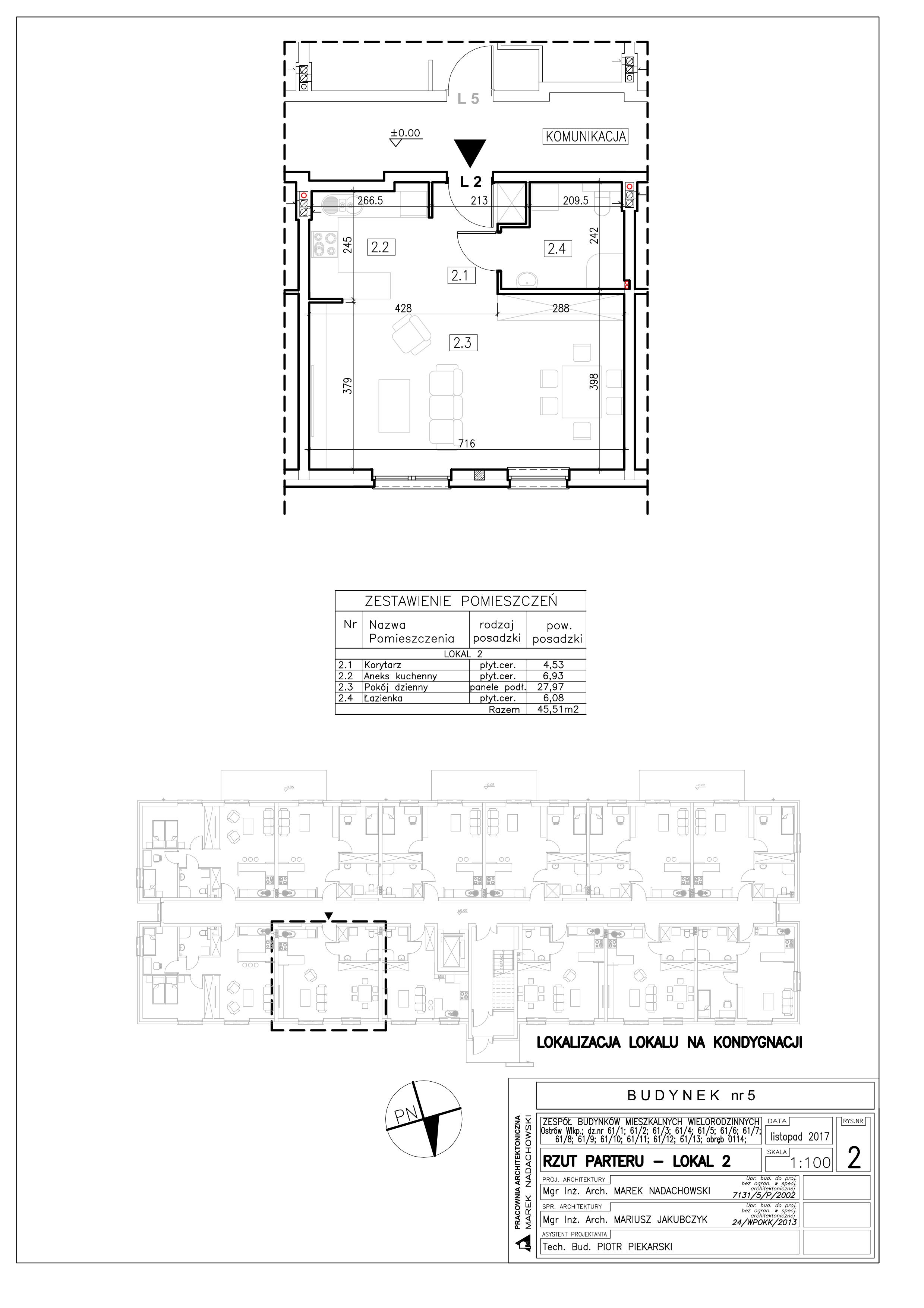 Lokal nr 2 Powierzchnia: 45,51 m2