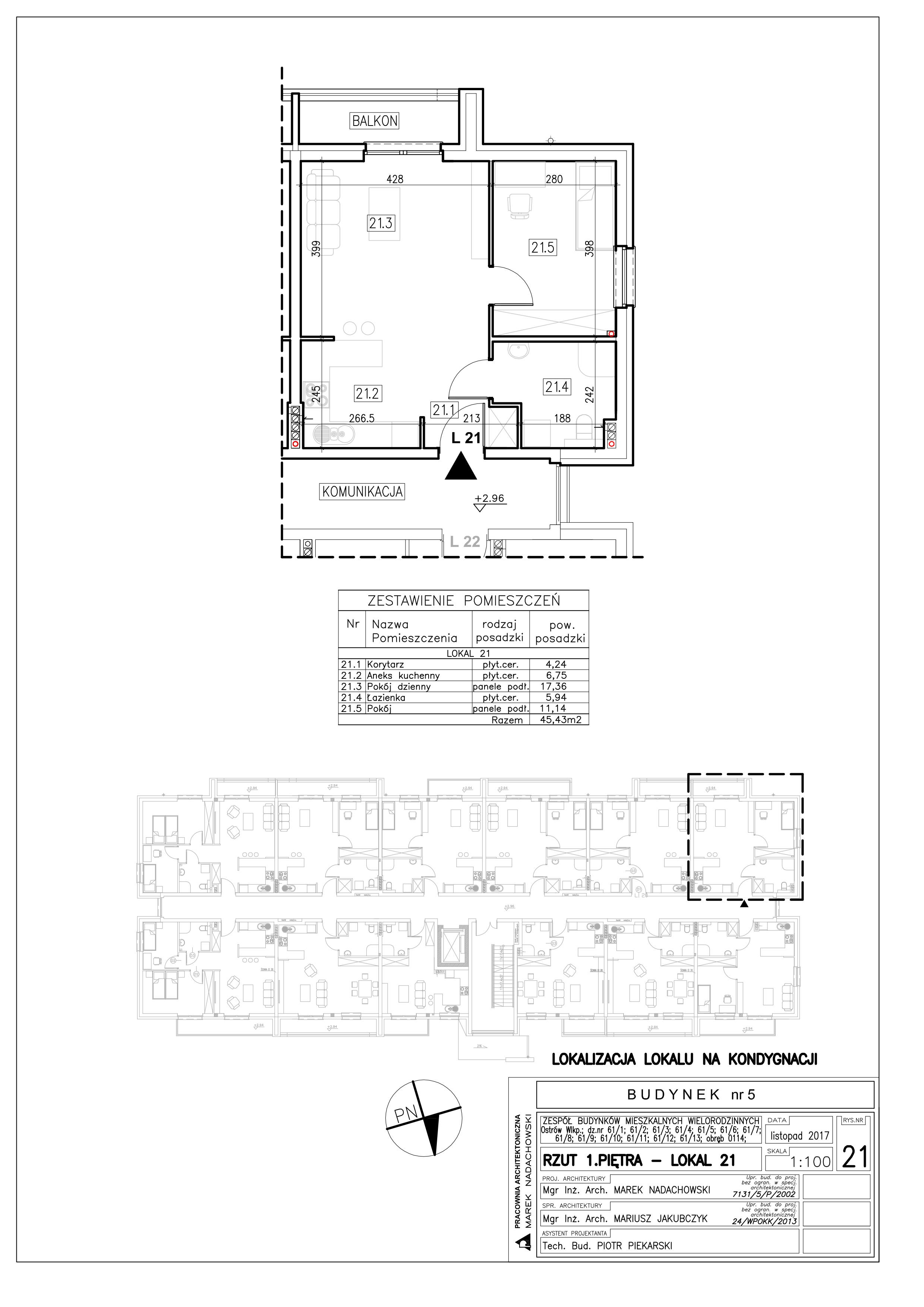 Lokal nr 21 Powierzchnia: 45,43 m2