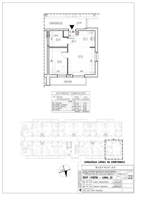 Lokal nr 22 Powierzchnia: 43,62 m2