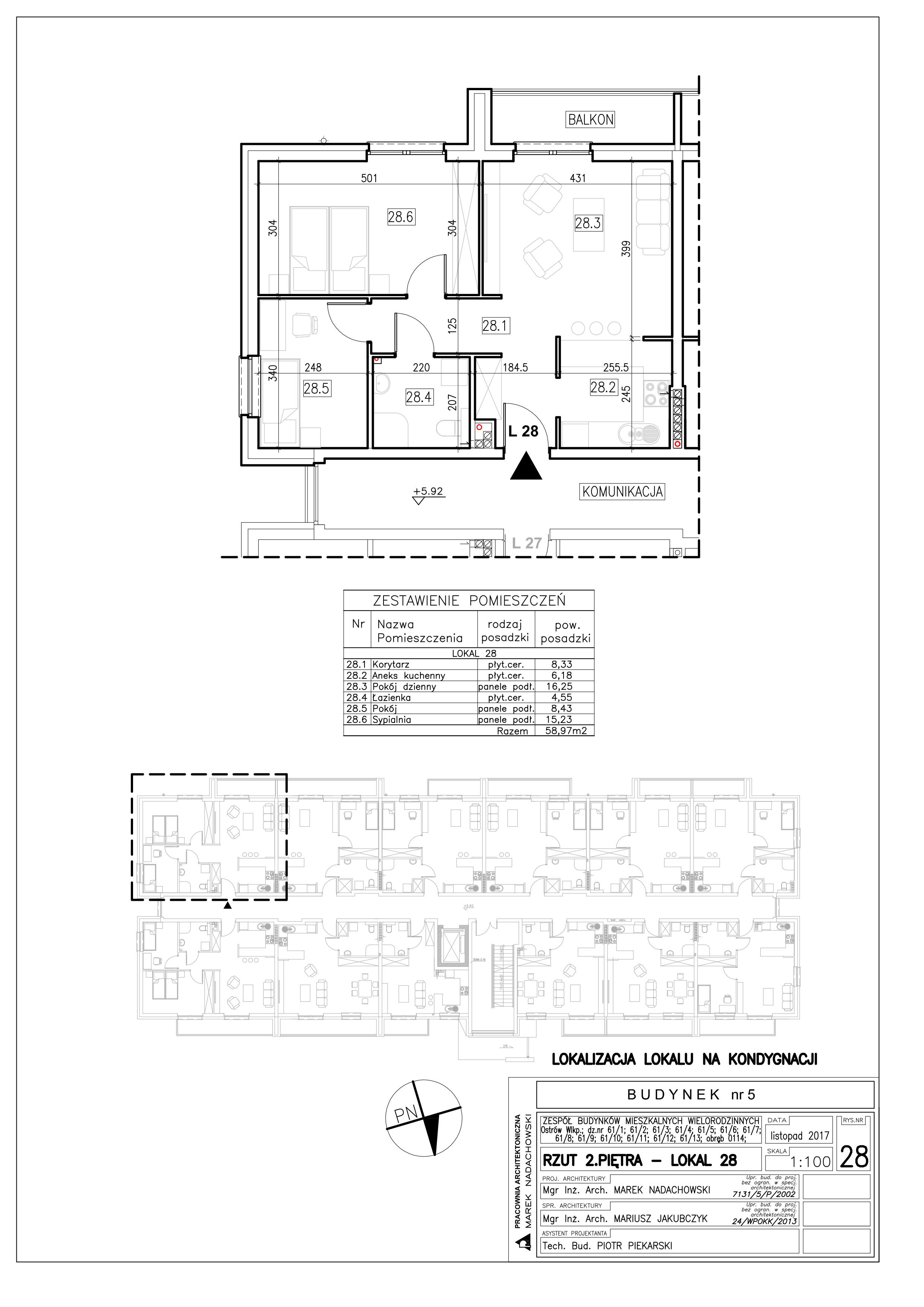 Lokal nr 28 Powierzchnia: 58,97 m2