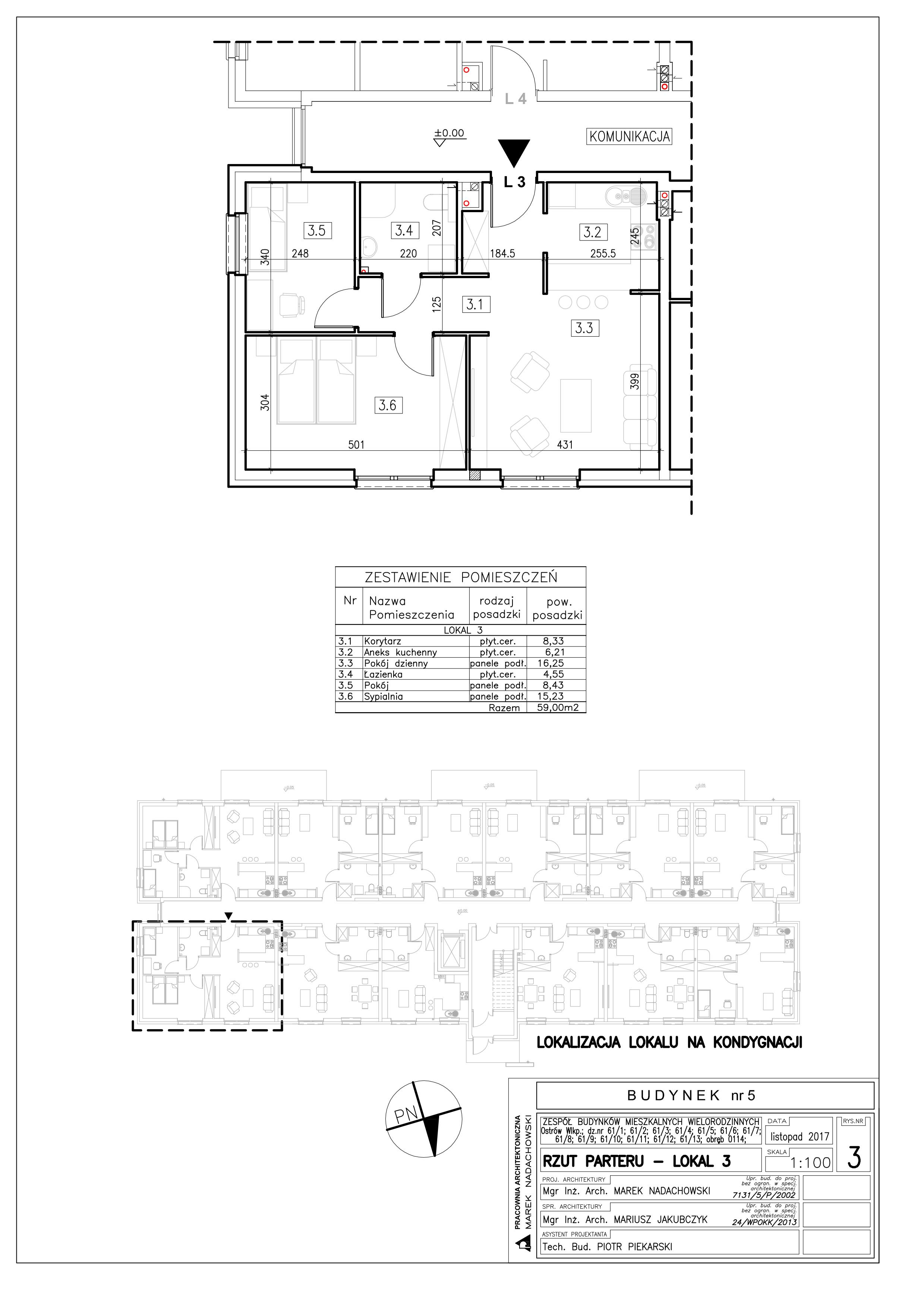 Lokal nr 3 Powierzchnia: 59,00 m2