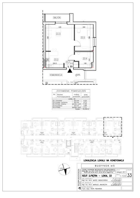 Lokal nr 33 Powierzchnia: 45,36 m2