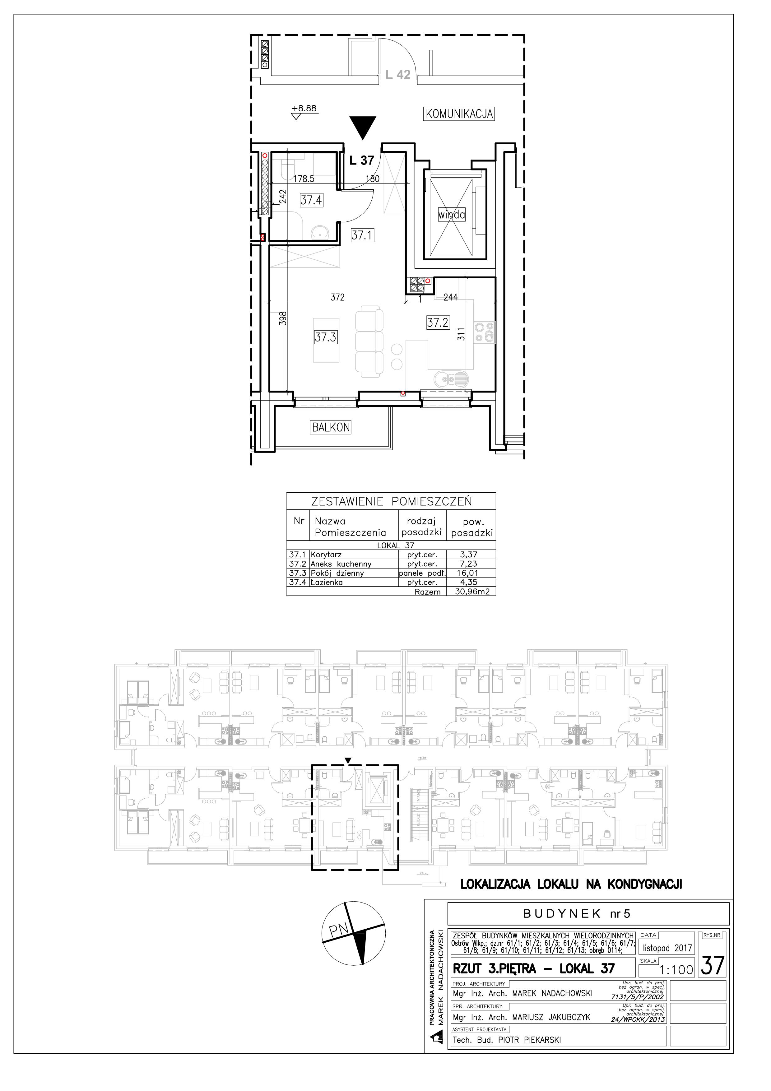 Lokal nr 37 Powierzchnia: 30,96 m2