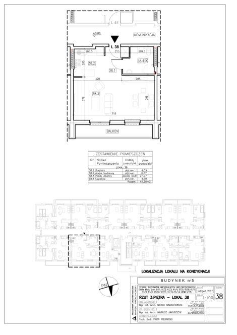 Lokal nr 38 Powierzchnia: 45,38 m2