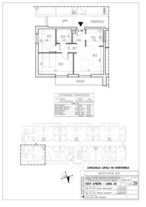 Lokal nr 39 Powierzchnia: 58,94 m2