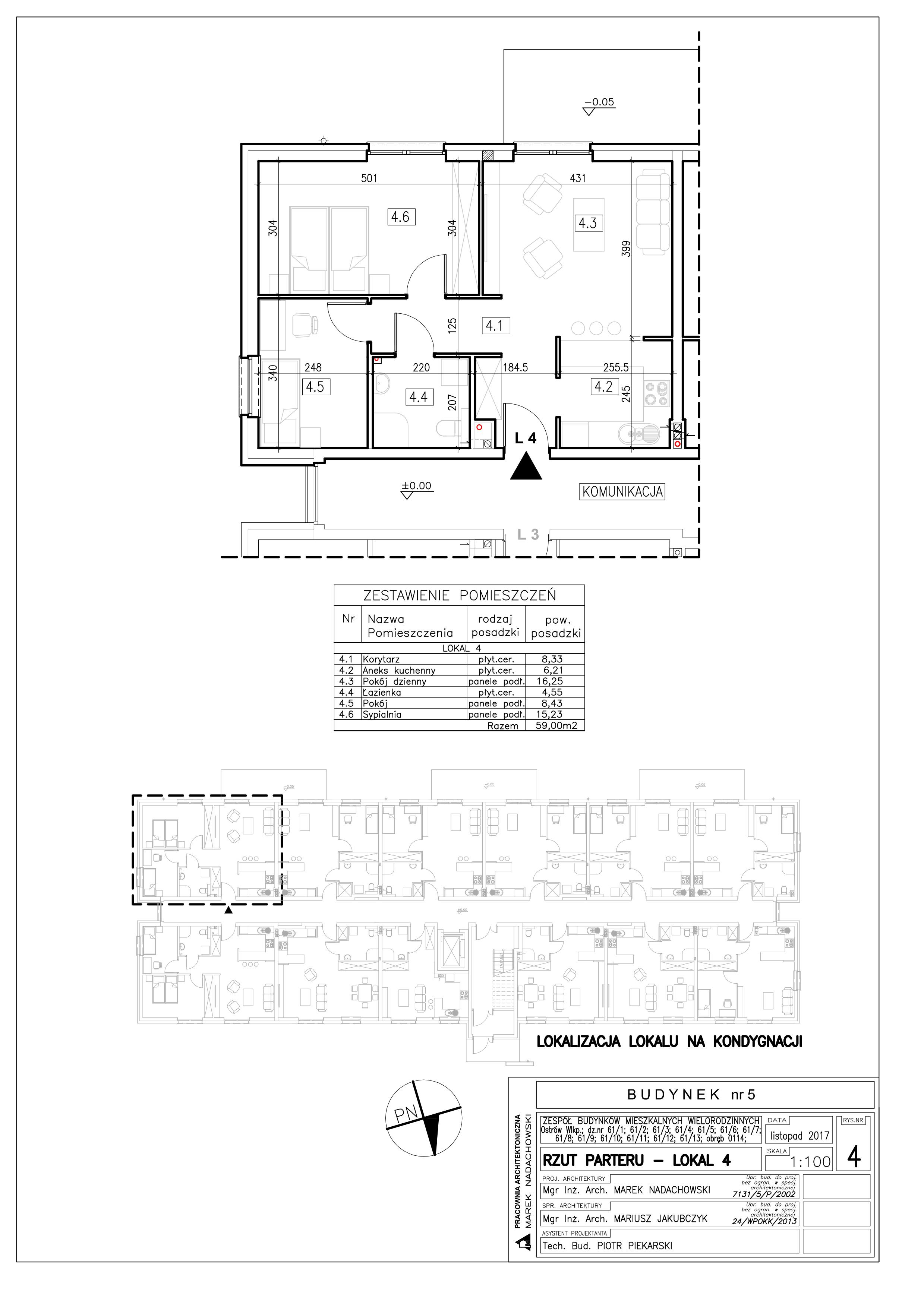 Lokal nr 4 Powierzchnia: 59,00 m2