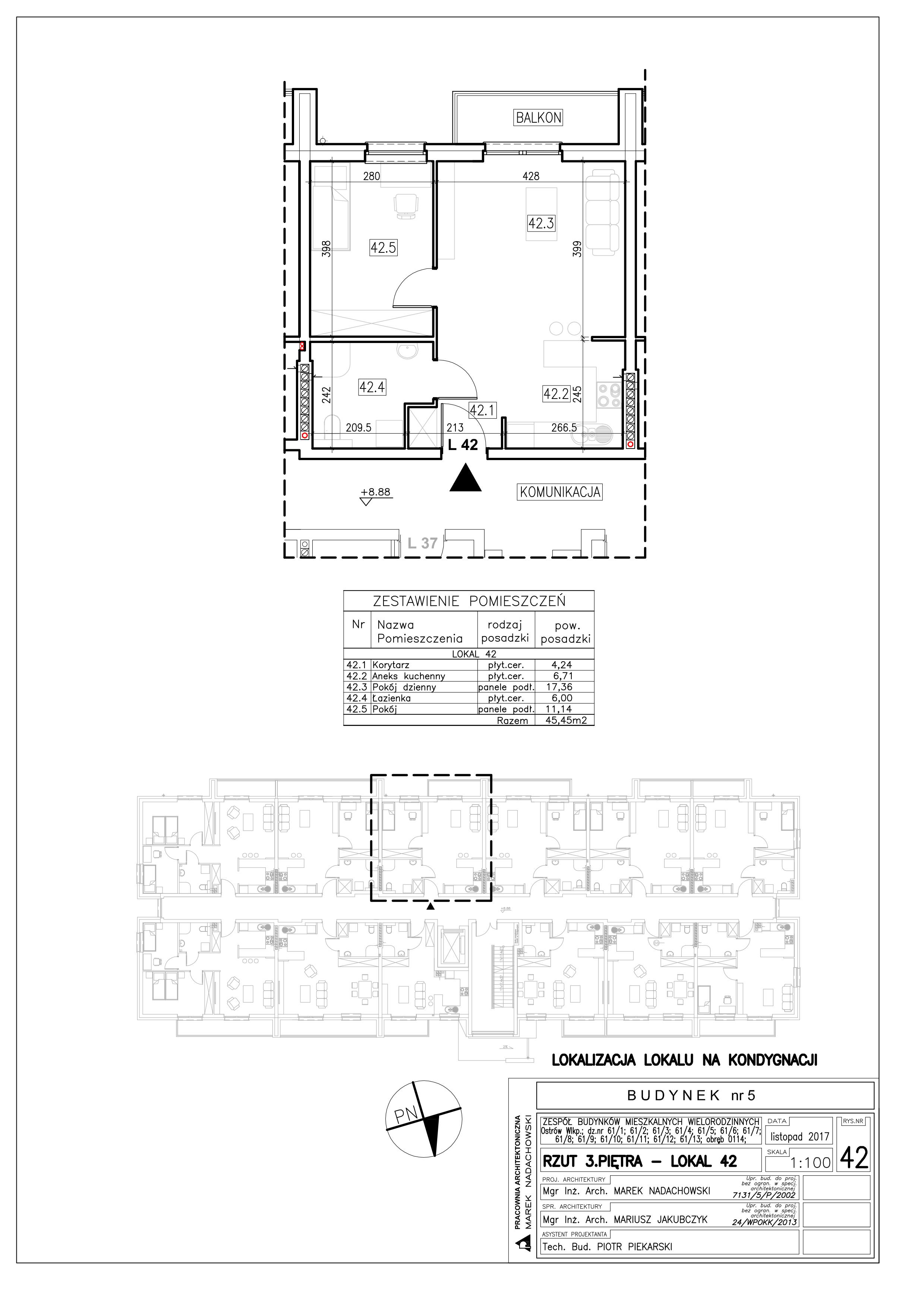 Lokal nr 42 Powierzchnia: 45,45 m2