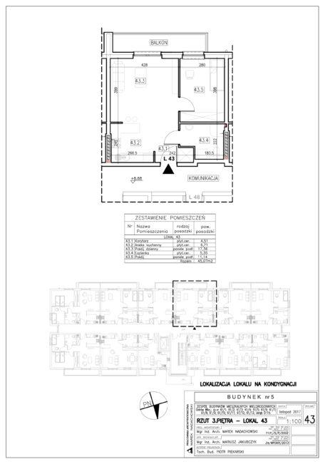 Lokal nr 43 Powierzchnia: 45,07 m2