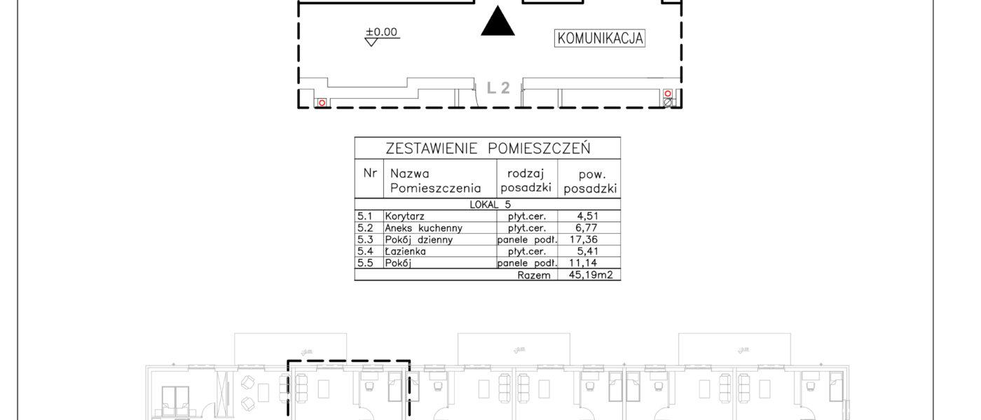 Lokal nr 5 Powierzchnia: 45,19 m2