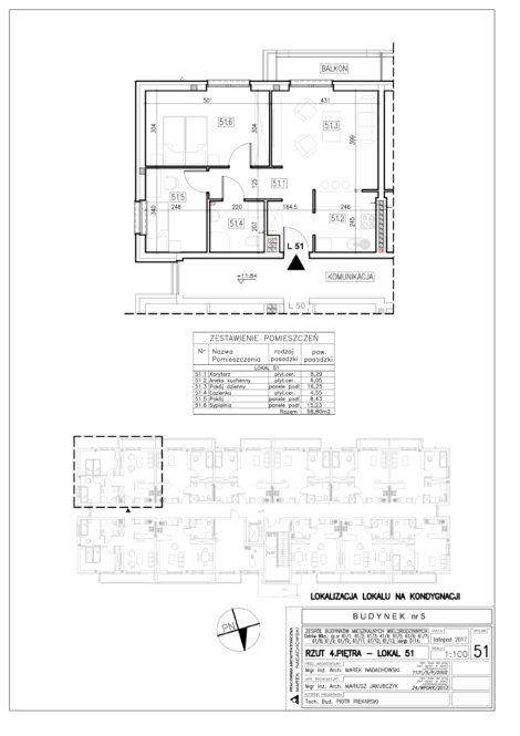 Lokal nr 51 Powierzchnia: 58,80 m2