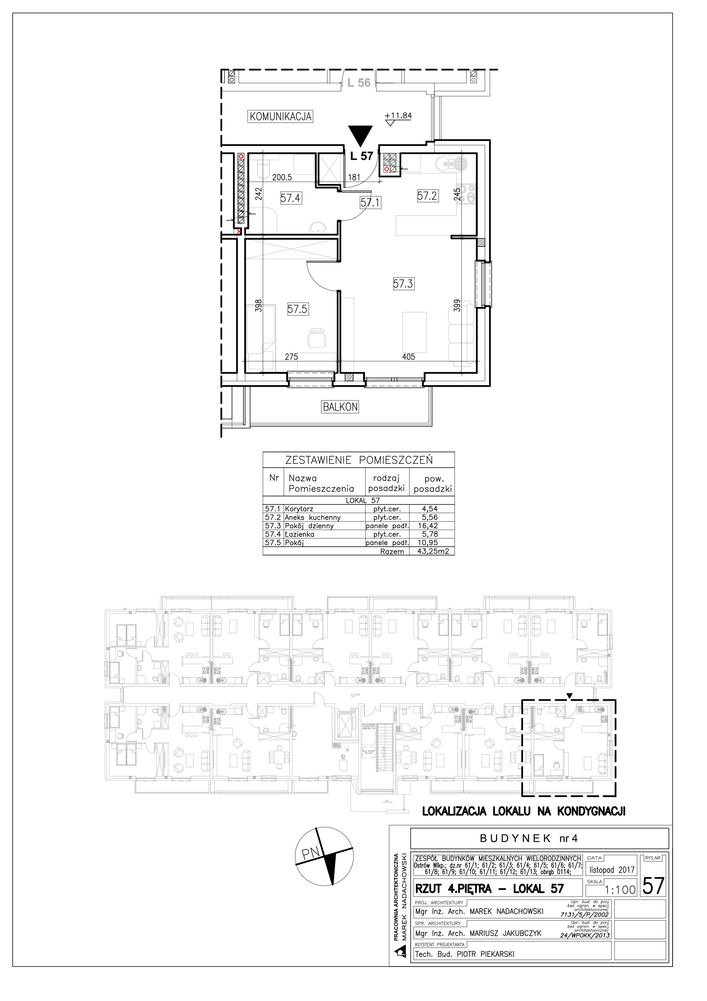 Lokal nr 57 Powierzchnia: 43,25 m2