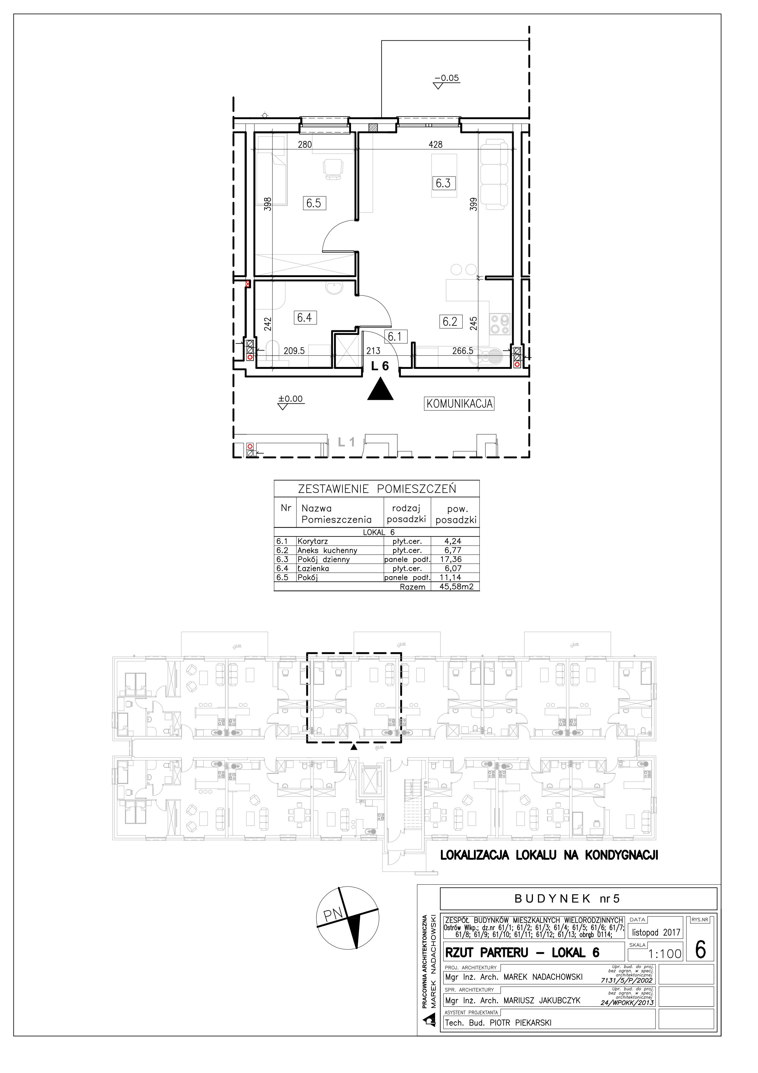Lokal nr 6 Powierzchnia: 45,58 m2