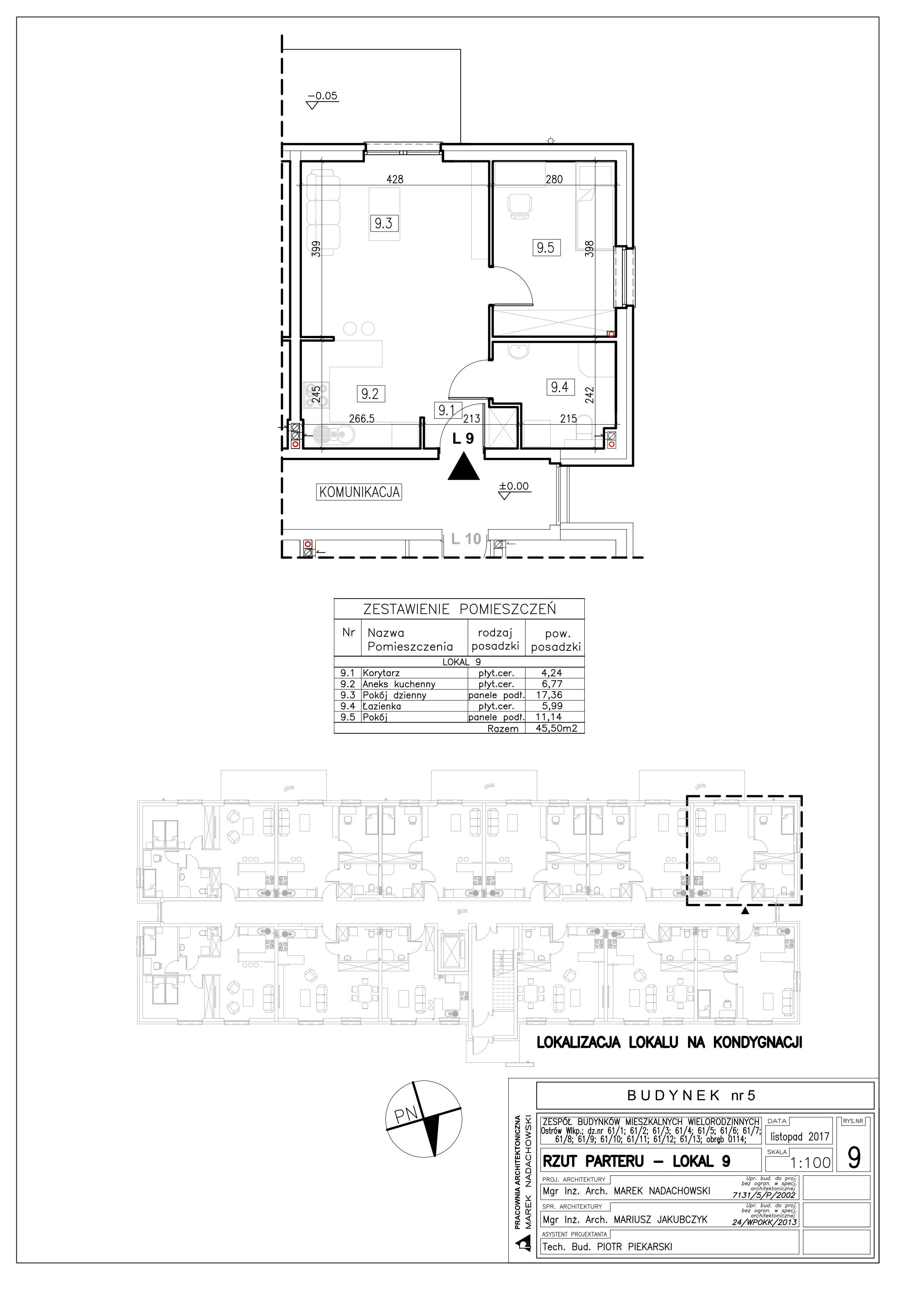 Lokal nr 9 Powierzchnia: 45,50 m2
