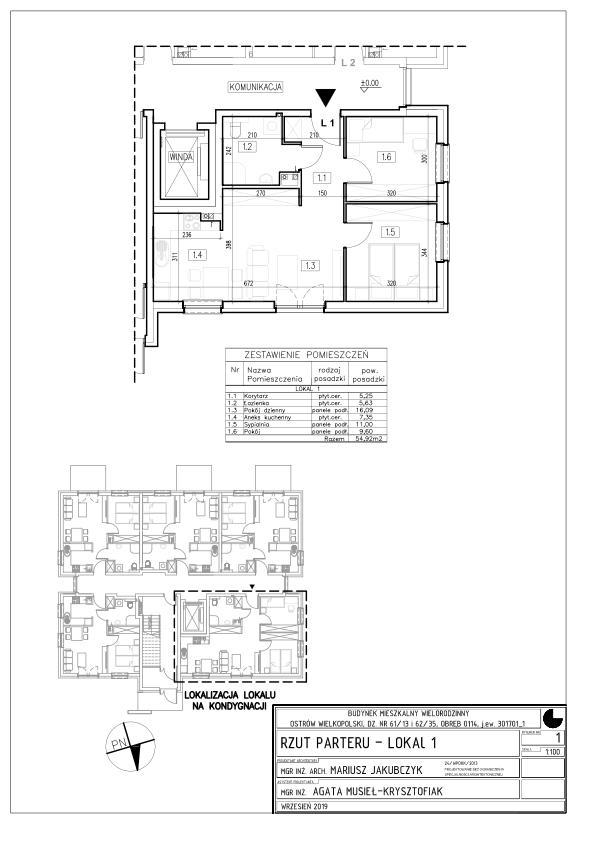 Lokal nr 1 Powierzchnia: 48,31 m2