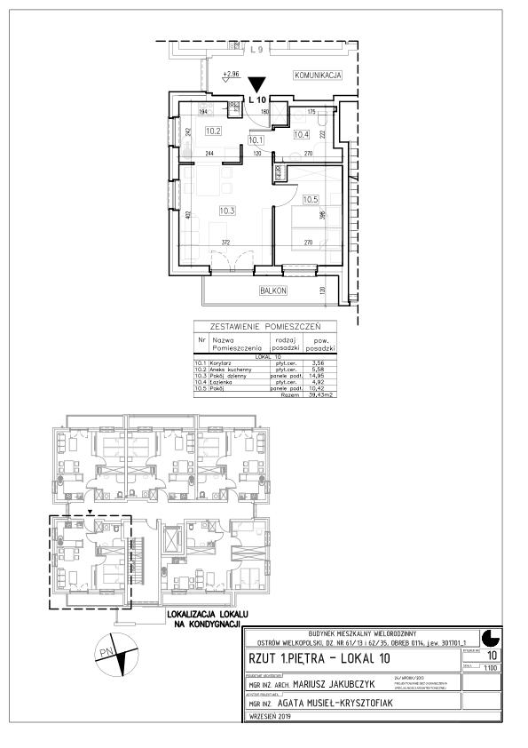 Lokal nr 10 Powierzchnia: 39,43 m2