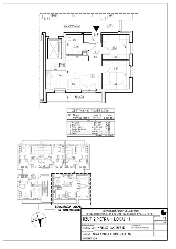 Lokal nr 11 Powierzchnia: 54,79 m2