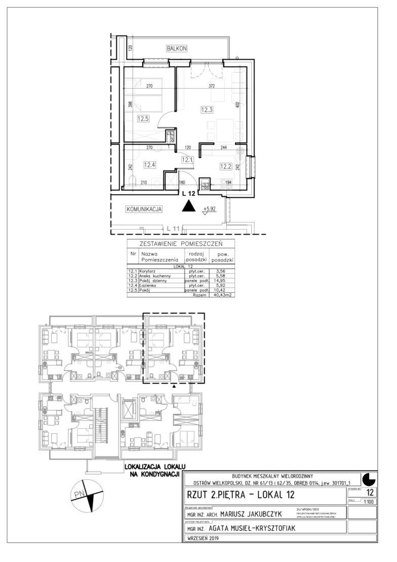 Lokal nr 12 Powierzchnia: 40,43 m2