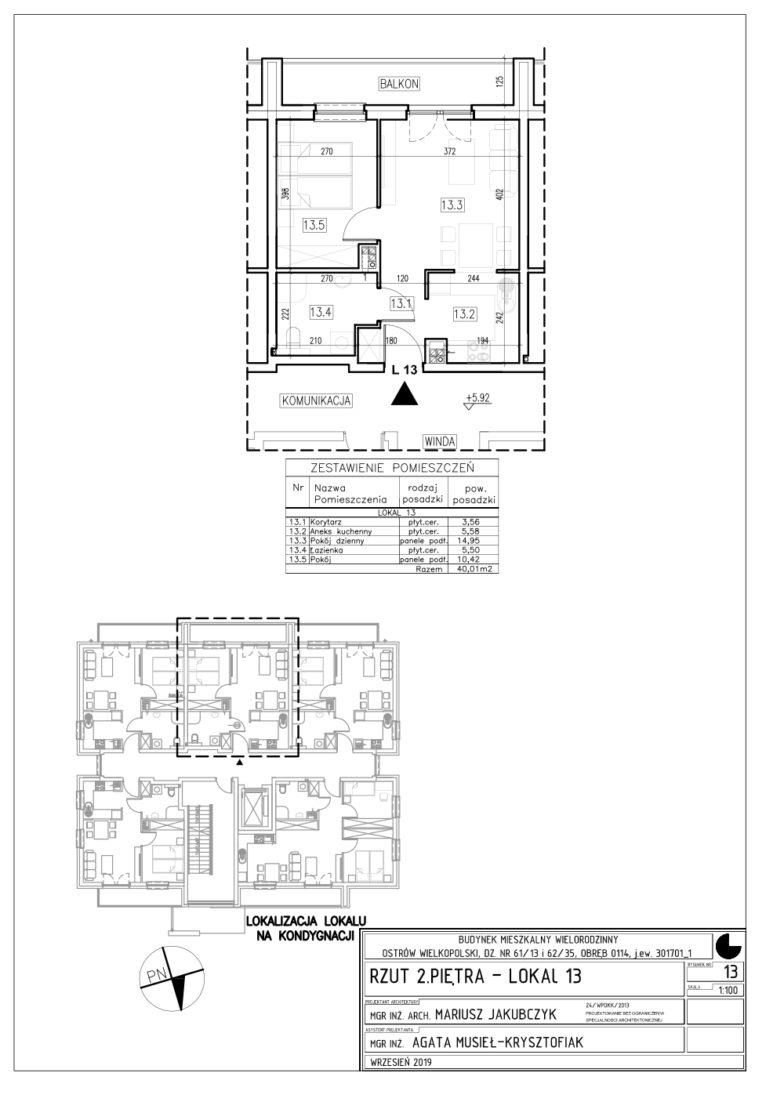Lokal nr 13 Powierzchnia: 40,01 m2