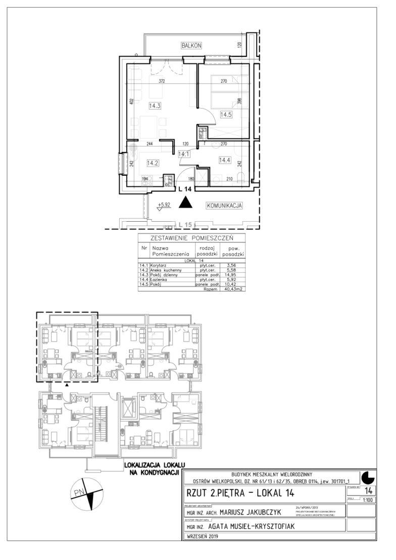 Lokal nr 14 Powierzchnia: 40,43 m2