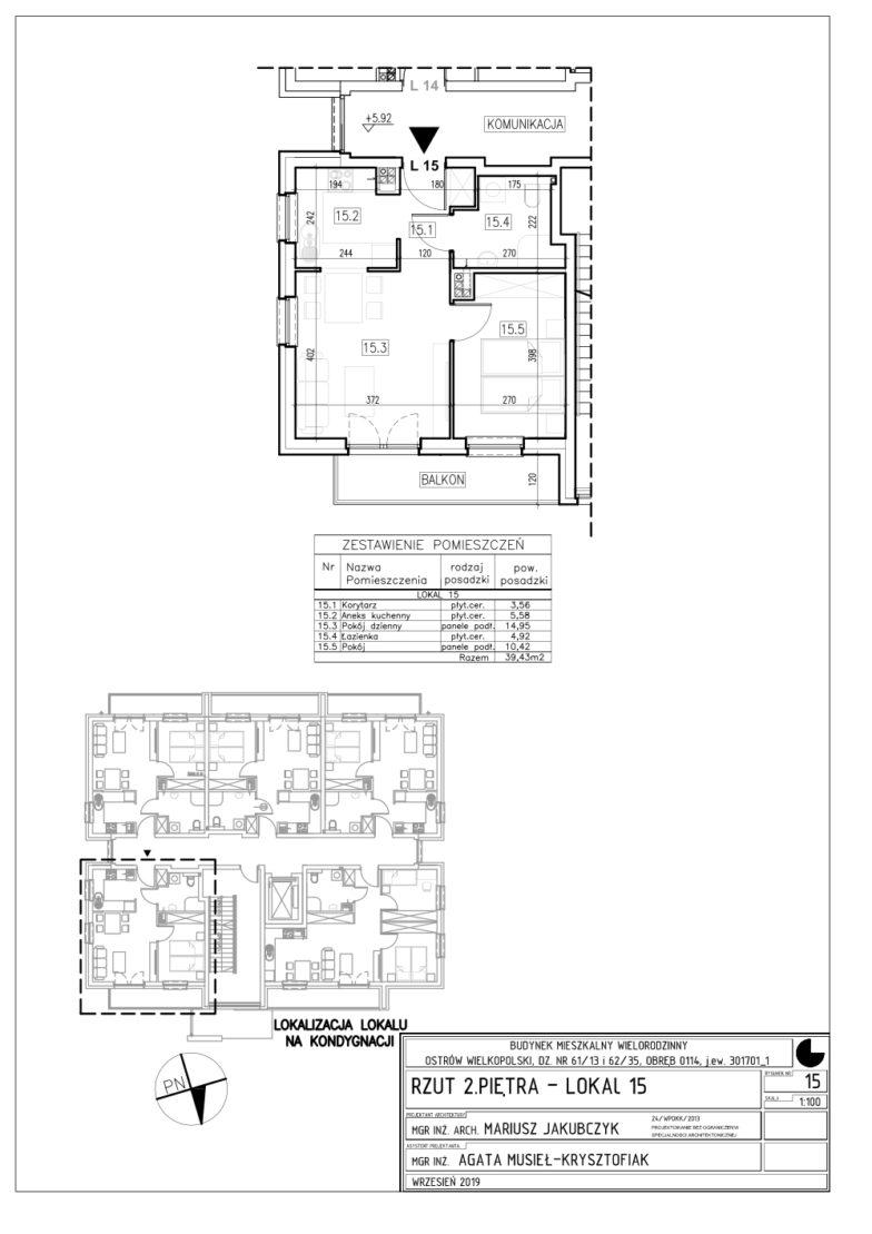 Lokal nr 15 Powierzchnia: 39,43 m2