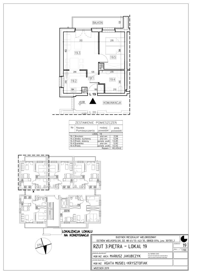 Lokal nr 19 Powierzchnia: 39,43 m2