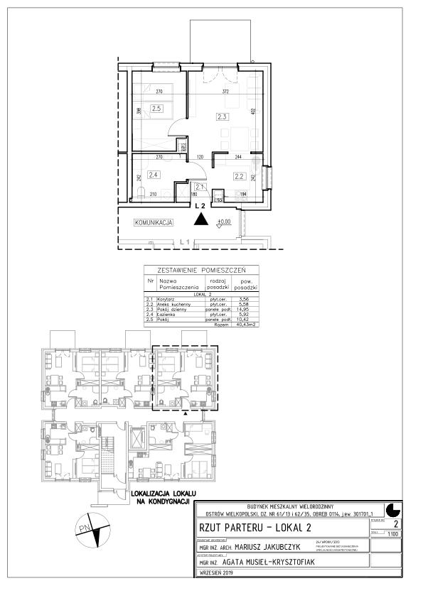 Lokal nr 2 Powierzchnia: 32,68 m2