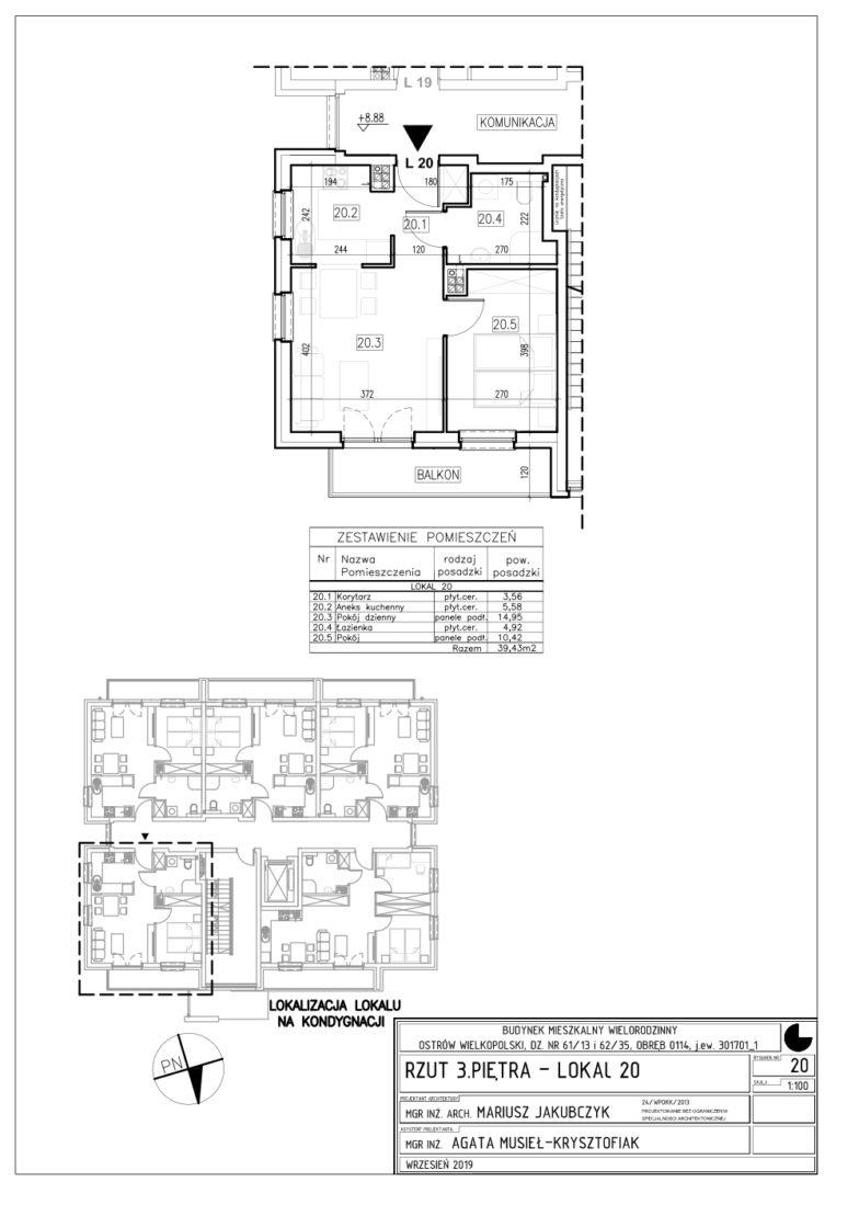 Lokal nr 20 Powierzchnia: 39,43 m2