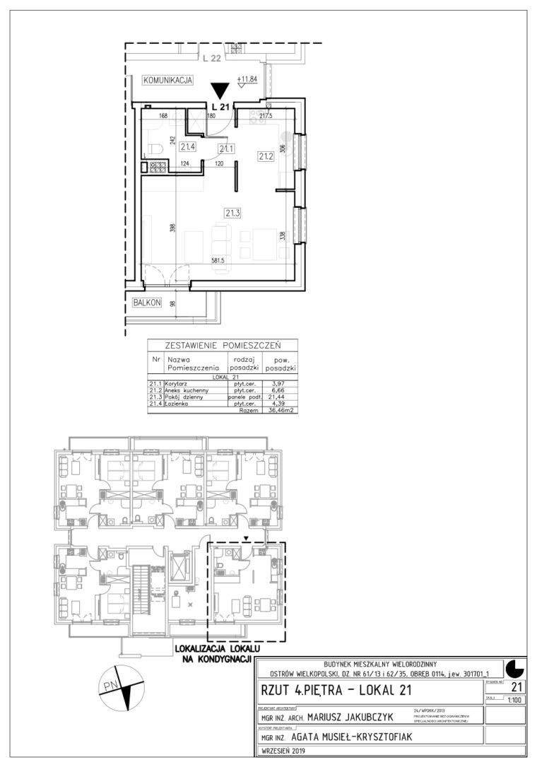 Lokal nr 21 Powierzchnia: 36,46 m2