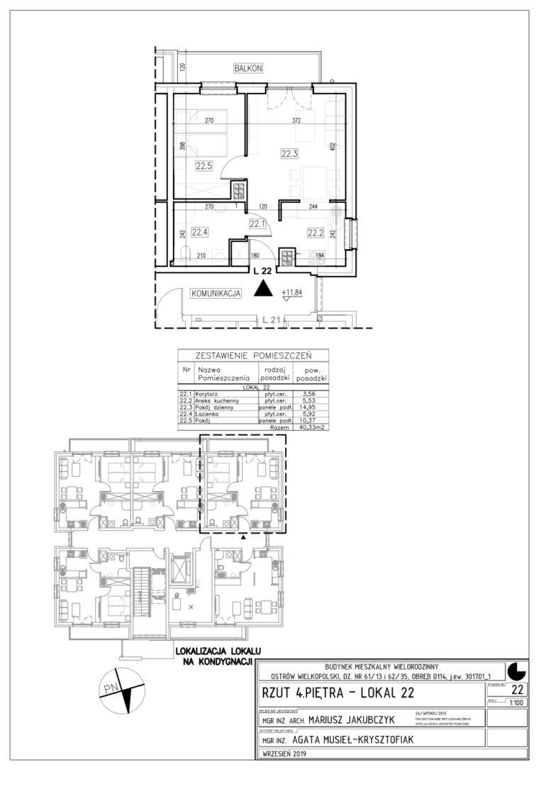 Lokal nr 22 Powierzchnia: 40,33 m2
