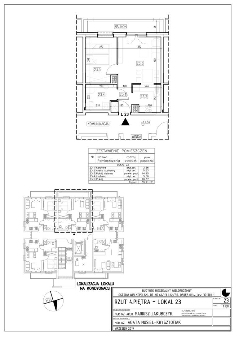 Lokal nr 23 Powierzchnia: 39,91 m2