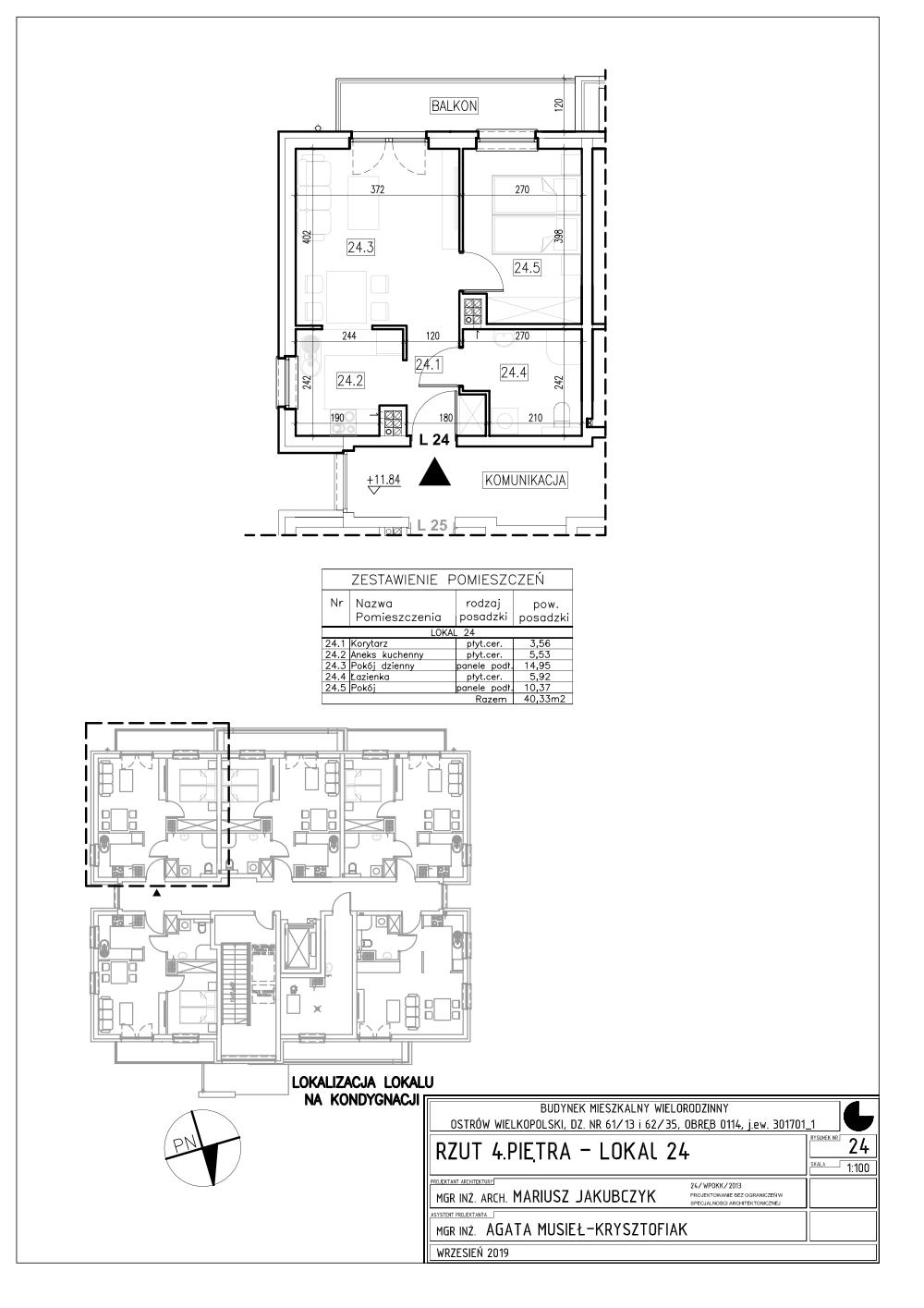 Lokal nr 24 Powierzchnia: 40,33 m2