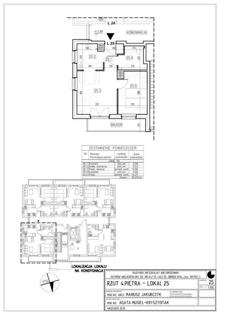 Lokal nr 25 Powierzchnia: 39,33 m2