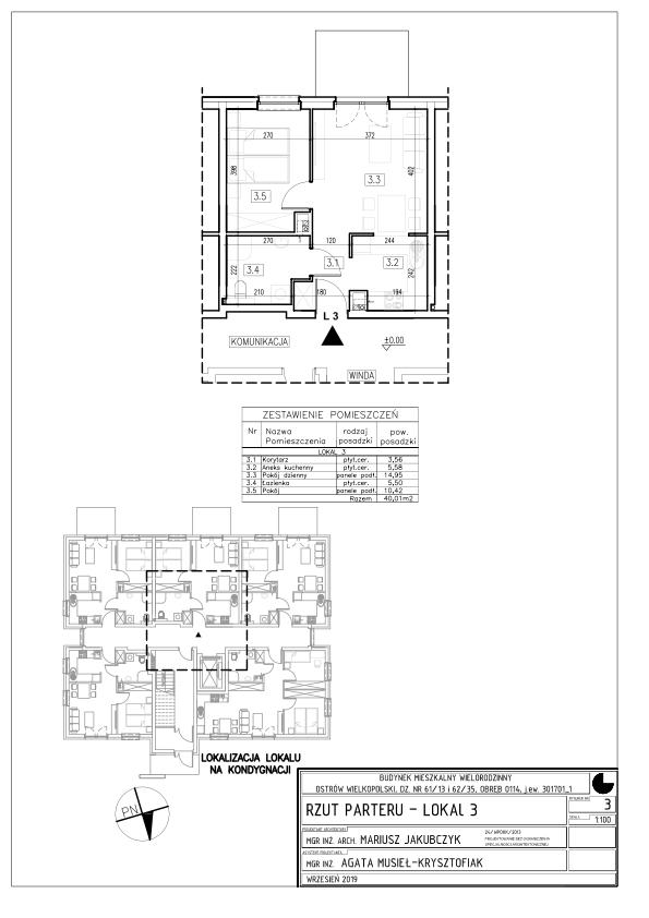 Lokal nr 3 Powierzchnia: 41,64 m2