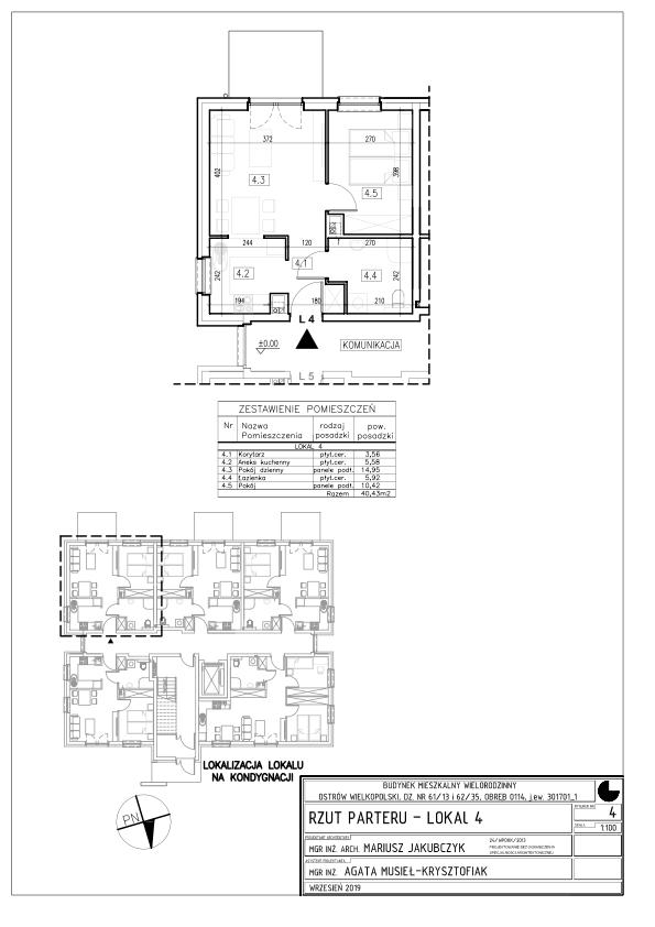 Lokal nr 4 Powierzchnia: 61,02 m2