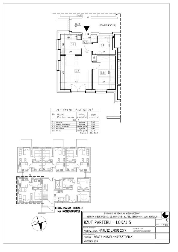 Lokal nr 5 Powierzchnia: 42,08 m2