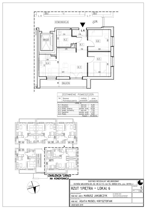 Lokal nr 6 Powierzchnia: 42,49 m2