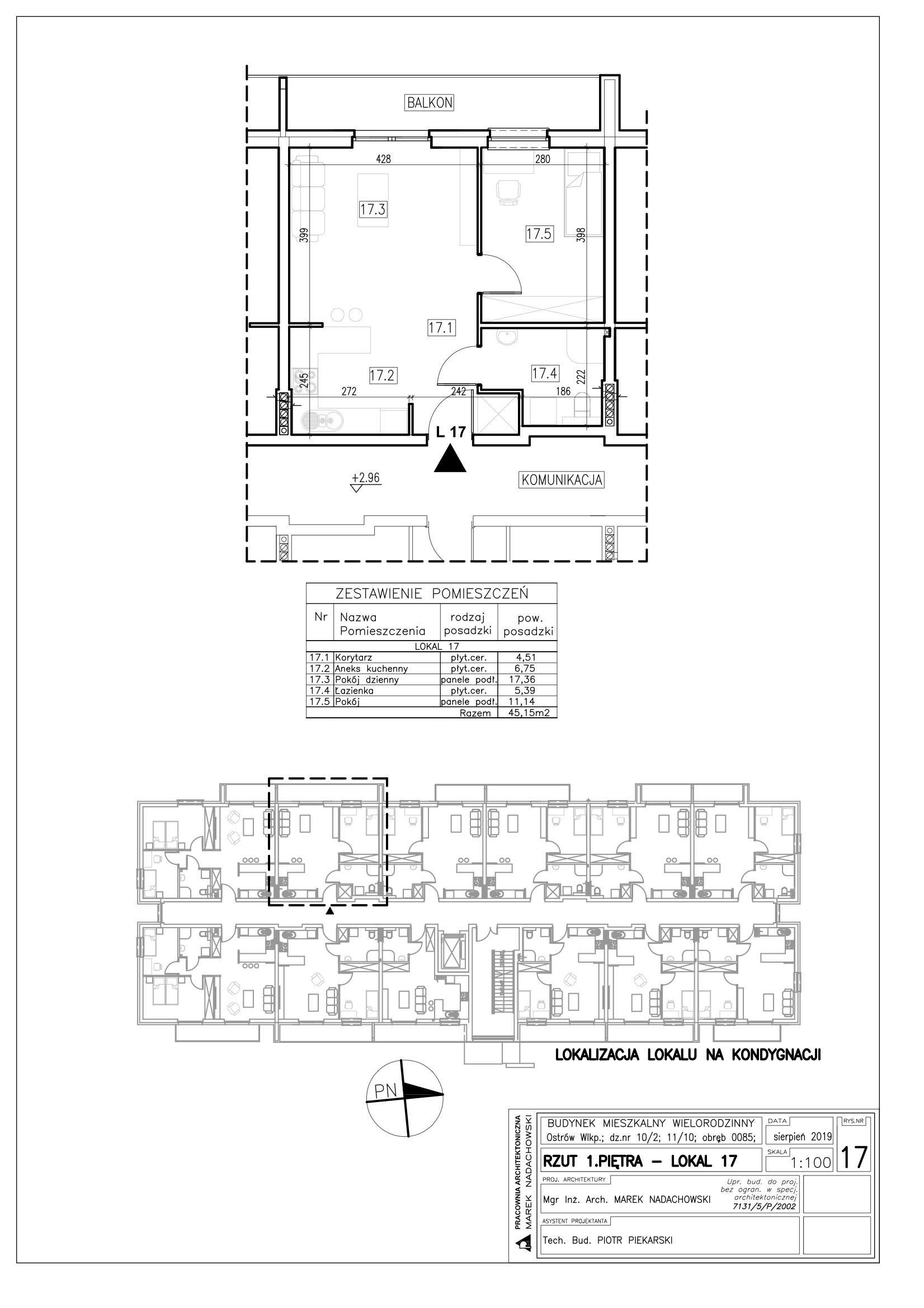 Lokal nr 17 powierzchnia 45,15m2
