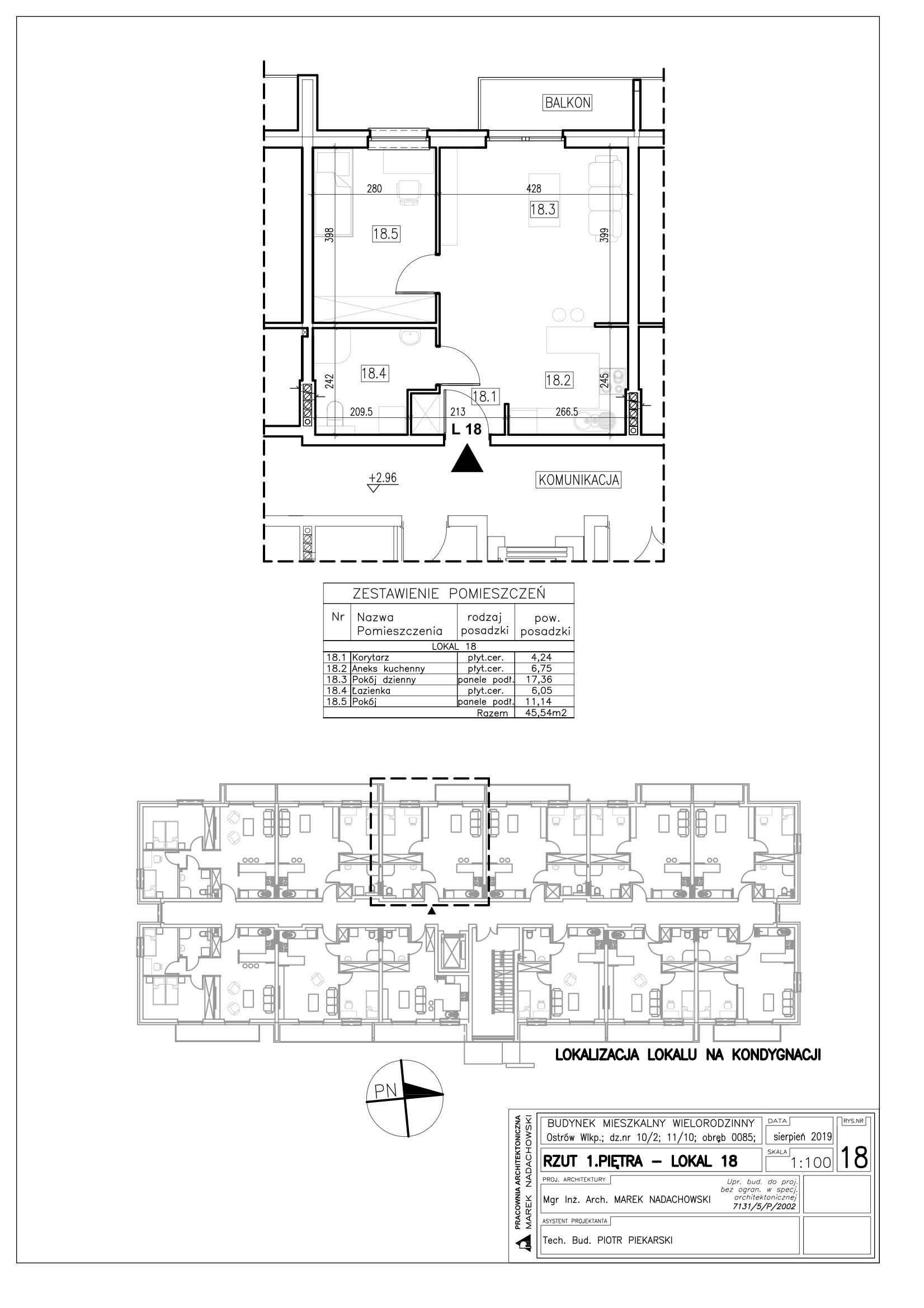 Lokal nr 18 powierzchnia 45,54m2