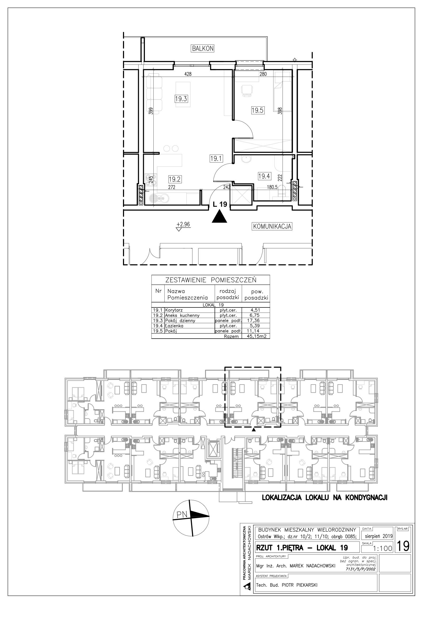 Lokal nr 19 powierzchnia 45,15m2